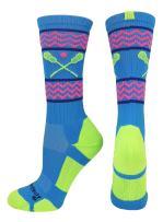 MadSportsStuff Chevron Girls Lacrosse Socks with Lacrosse Sticks Athletic Crew Socks