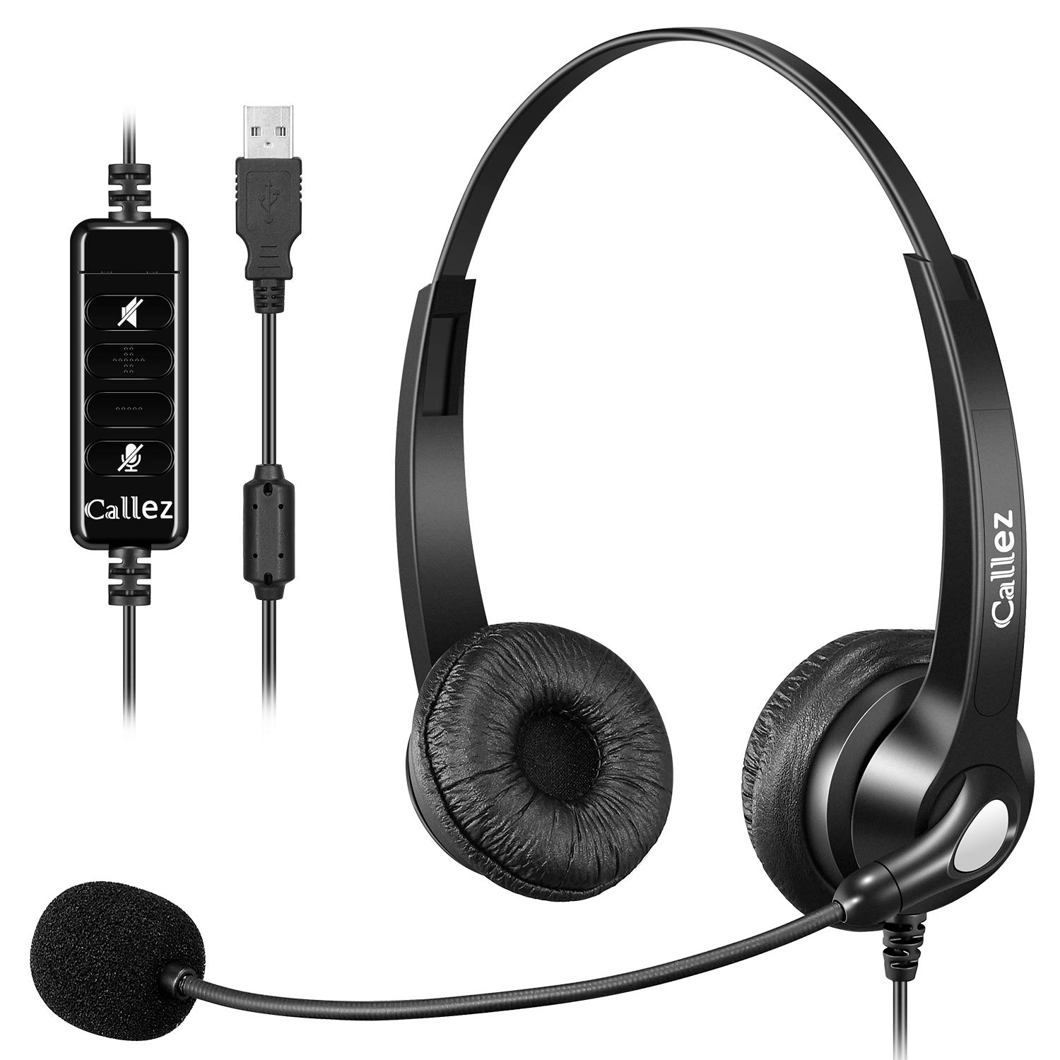 USB Headset with Microphone Noise Cancelling & Audio Controls, Stereo Computer Headphones for Business Skype UC Lync Softphone Call Center Office, Clearer Voice, Super Light, Ultra Comfort
