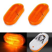cciyu Car Marker Light 2 Pack Red Oblong Clearance/Side Marker light w/White Base Replacement fit for Camper Boat 6LED/pc (amber)