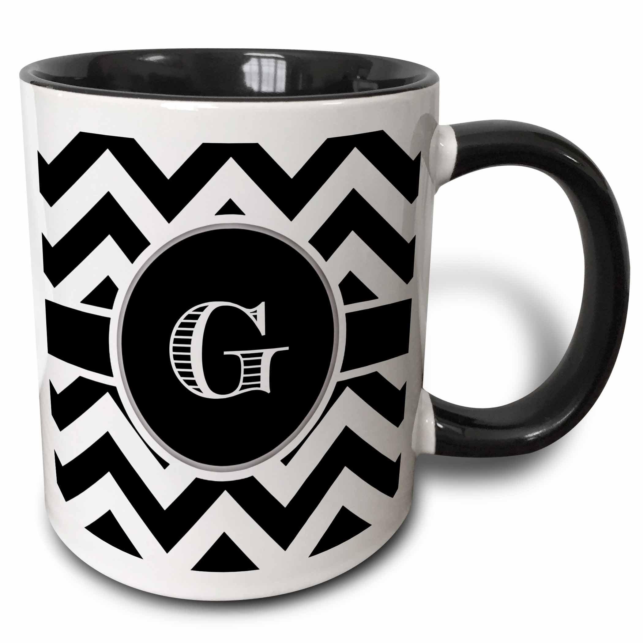 3dRose Black and White Chevron Monogram Initial G Mug, 11 oz