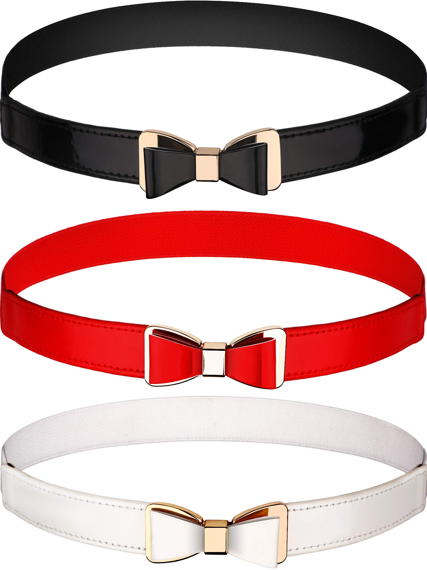 Tatuo 3 Pieces Women Skinny Waist Belt Thin Stretchy Bow Belt for Dress, 3 Colors (Set 1) (Red, Black and White)