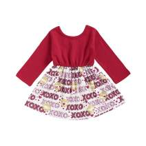 Baby Girls Valentine's Day Outfits Toddler Long Sleeve Love Heart Dress