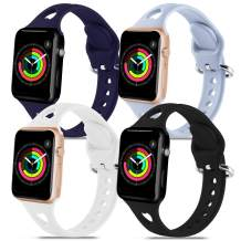 4 Pack Silicone Smartwatch Bands Compatible with Apple Watch Bands 38mm 40mm for Women Men,Soft Durable Sport Band Replacement Wrist Strap with Air Holes for iWatch SE Series 6 5 4 3 2 1