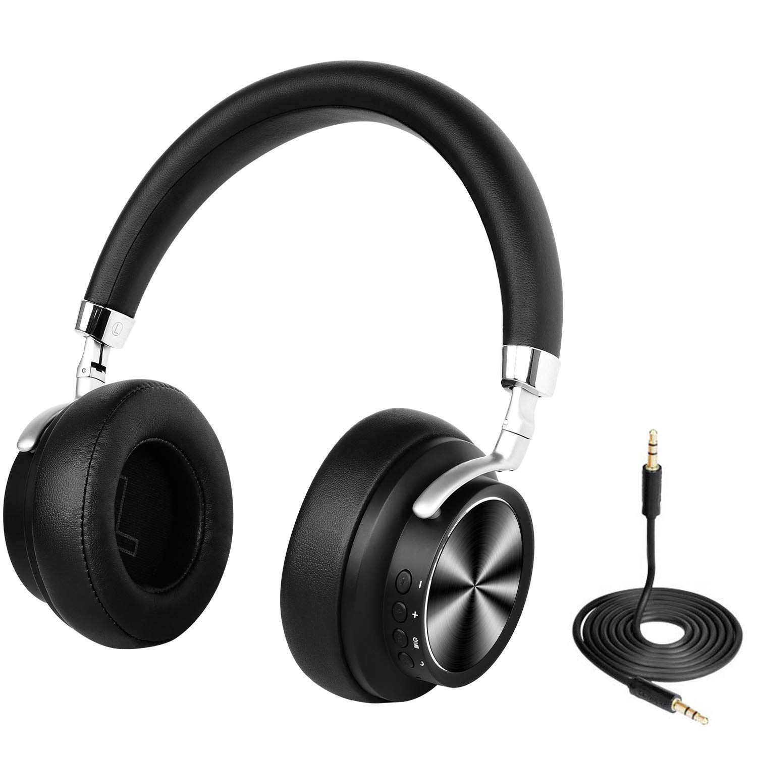 Wireless Bluetooth Headphones, Over-Ear Headset with Microphone, Low Latency Stereo Headset for Travel Work for Smart Phone/Laptop