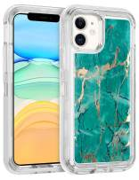WESADN Case for iPhone 11 Case Marble Glitter Protective Case for Women Men Heavy Duty Shockproof Hybrid Hard PC Bumper Drop Protection Soft TPU Cover for iPhone 11 6.1 Inches, Green