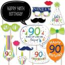 Big Dot of Happiness 90th Birthday - Cheerful Happy Birthday - Colorful Ninetieth Birthday Party Photo Booth Props Kit - 20 Count