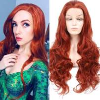 HUA MIAN LI Copper Red Lace Front Long Wavy Wig for Women Middle Part Wig Heat Resistant Synthetic Wig for Party, Cosplay 26 inch Hair Replacement Body Wave Full Glueless Wig 350#