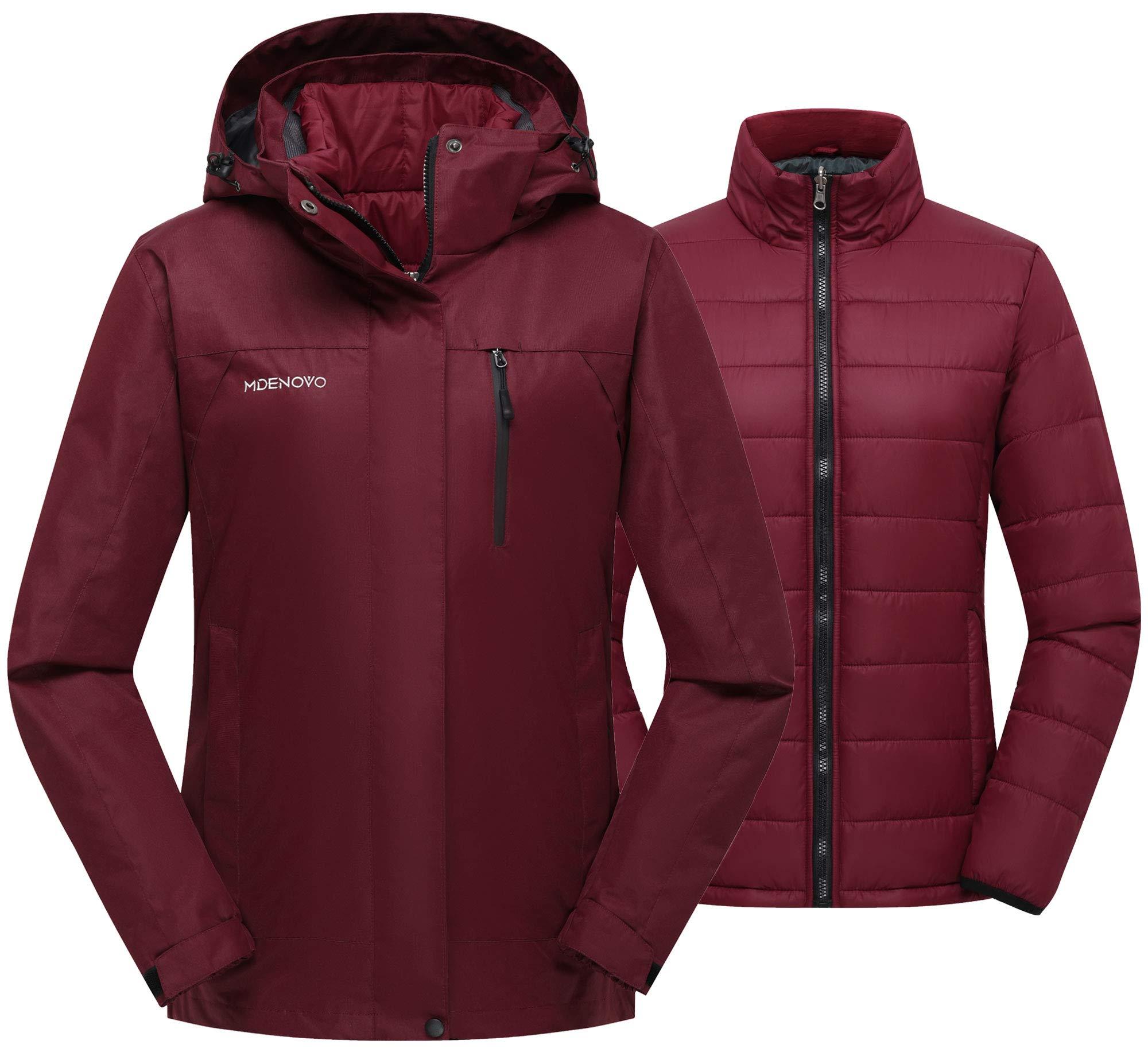 MDENOVO Women's 3 in 1 Ski Jacket Waterproof Puffer Inner Warm Winter Coat Snowboard Mountain Jacket