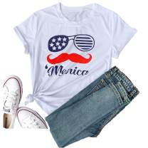 Women's 4Th of July Short Sleeve American Flag T-Shirt Love Funny Graphic Tees Tops Casual