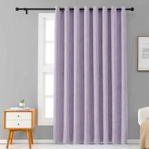 Melodieux Elegant Cotton Wide Blackout Curtains for Sliding Glass Door Living Room Thermal Insulated Grommet Drapes, 100 by 84 Inch, Purple (1 Panel)