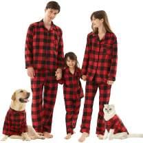 Matching Family Christmas Pajamas Set, Buffalo Plaid 2-Piece Holiday Pjs Button Up Jammies Sleepwear for Adults Kids Pets