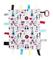 "Baby Sensory, Security & Teething Closed Ribbon Tag Lovey Blanket with Minky Dot Fabric: 14""X18"" (Music)"