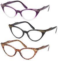 Gamma Ray Women's Reading Glasses - 3 Pairs Chic Cat Eye Ladies Fashion Readers
