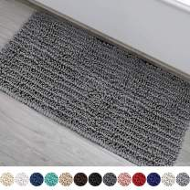 DEARTOWN Non-Slip Shaggy Bathroom Rug,Soft Microfibers Bath Mat with Water Absorbent, Machine Washable (27.5x47 Inches, Grey)