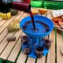 Hand-Mart 6 Shot Glass Dispenser and Holder Including 6 Cups, For Filling Liquids, Multiple 6 Shot Dispenser, Bar Shot Dispenser, Cocktail Dispenser, Suitable for Parties (Blue)