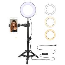 BONFOTO 6-Inch Desktop Dimmable Beauty LED Ring Light with USB Power Supply Port,Mirror,Ball Head and Cell Phone Holder for Makeup Portrait Photography YouTube Live Video Shooting