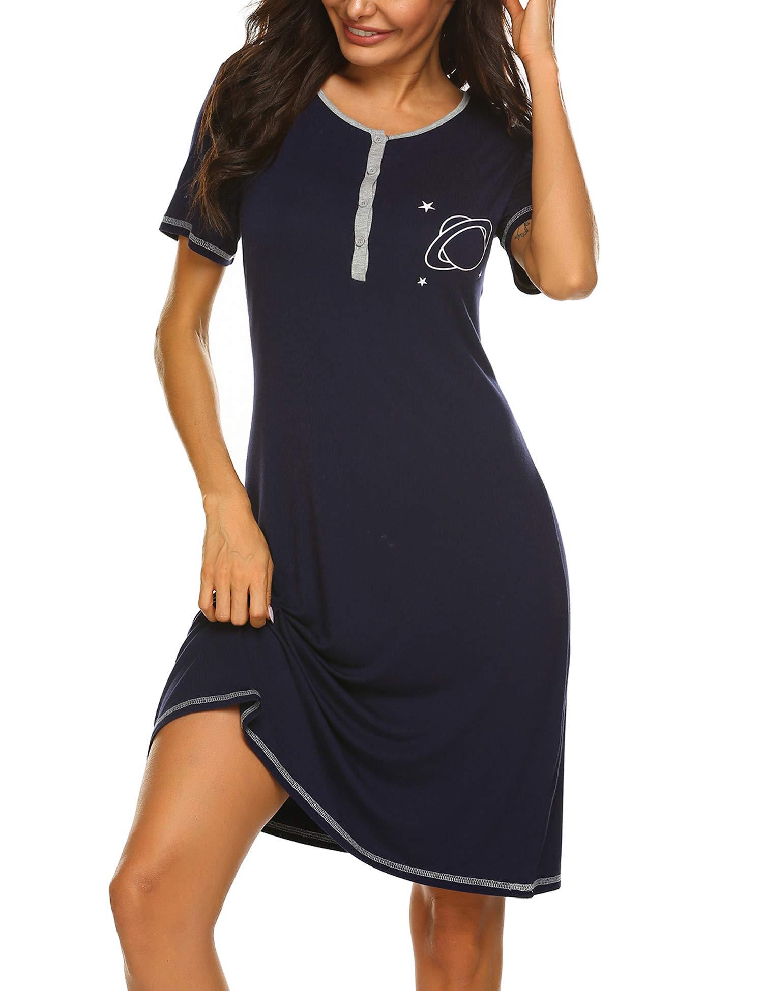 Ekouaer Women's Nightshirt Short Sleeve Printed Nightgown Soft Sleep Shirt Pajama Dress