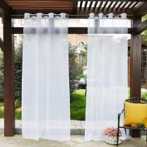 PONY DANCE White Outdoor Sheer - Water Repellent Outdoor Indoor Curtain Privacy Drape with 1 Tieback Rope Voile Curtain Panel for Front Porch, W 54 by L 96 inches, Single Piece