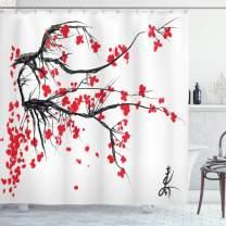 "Ambesonne Nature Shower Curtain, Sakura Blossom Japanese Cherry Tree Garden Summertime Vintage Cultural Print, Cloth Fabric Bathroom Decor Set with Hooks, 70"" Long, Grey Vermilion"