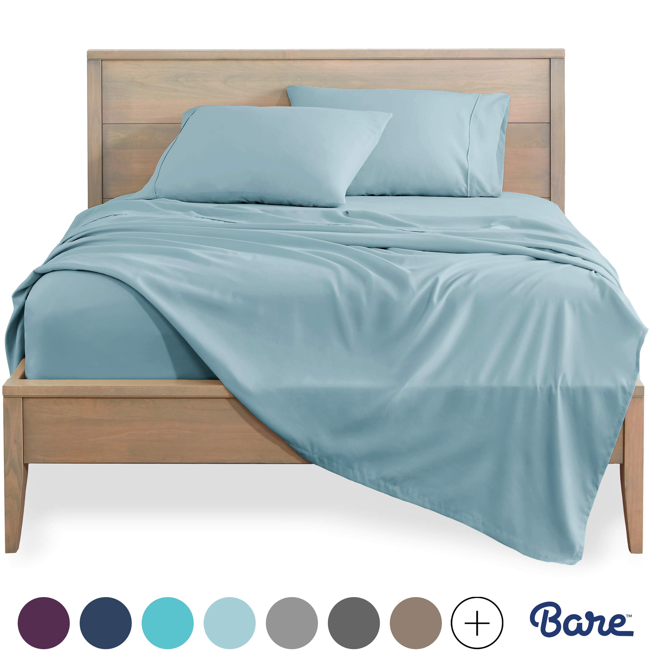 Bare Home California King Sheet Set 1800 Ultra Soft Microfiber Bed Sheets Double Brushed Breathable Bedding Hypoallergenic Wrinkle Resistant Deep Pocket Cal King Light Blue