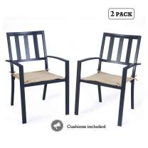 Kozyard Coolmen Outdoor Patio Dining Furniture Chair and Table Sets (2-Pack Wrought Iron Chairs)
