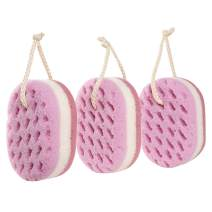 KECUCO 3 Pack Soft Bath Sponge for Women, Men, Kids, 100% Fiber Sponge Gentle & Soothing Body Sponge, Colourful & Extra Large Size with Fine, Soft, Rich Foam (Children/Kids)