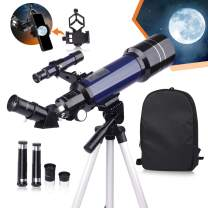 USCAMEL Telescope for Kids and Beginners,70mm Aperture 400mm Astronomy Telescopes with Cellphone Adapter,Backpack and Adjustable Tripod, Portable Astronomical Refractor Telescope for Moon Viewing