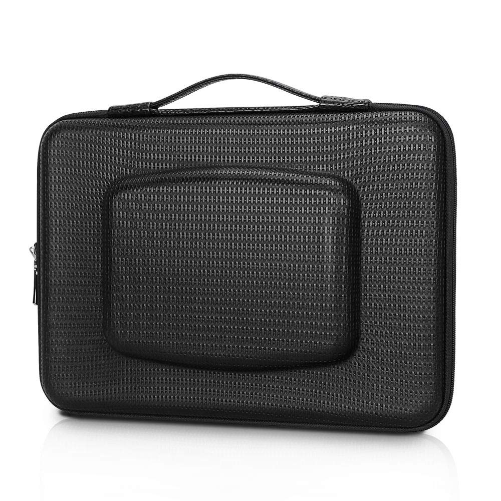 """WWW 12""""-13.5"""" [Water Repellent Leather] [Solid Hard Shape] Laptop Sleeve Bag Case with Small Pocket Fits All 12-13.5 Inches Laptops, Notebook, MacBook Air/Pro, Tablet, iPad Black"""