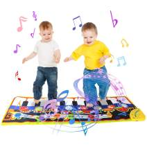 Jenilily Musical Mat, 19 Keys Piano Keyboard Play Mat, 8 Musical Instruments Dance Floor Mat Music Carpet Baby Early Education Music Toy Gift for Kids Girls & Boys 43.3'' X14.2''