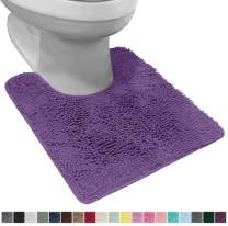 Gorilla Grip Original Shaggy Chenille Square U-Shape Contoured Mat for Base of Toilet, 22.5x19.5 Size, Machine Wash and Dry, Soft Plush Absorbent Contour Carpet Mats for Bathroom Toilets, Purple