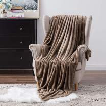 MIULEE Super Soft Flannel Fleece Blanket Luxurious Brown Microfiber Blanket Bring You Extra Warmth and Comfort More Fluffy and Breathable for Napping Sleeping (60x80inch,Twin Size)