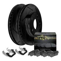[REAR KIT] BLACK HART SLOTTED DISC BRAKE Rotors Kit AND CERAMIC PADS BHSR.42106.02