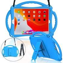 MENZO Kids Case for New iPad 10.2 2019, ipad 7th Generation case, Soft Silicone Shockproof Handle Stand Shoulder Strap Kids Case for New iPad 10.2-Inch 2019 Released (Latest Model) - Blue
