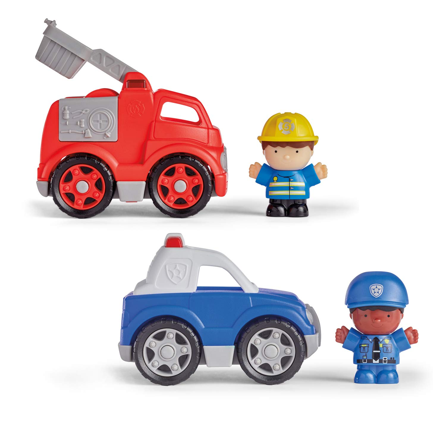 Kidoozie Little Drivers, Police Car and Fire Engine (Pack of 2 Vehicles and 2 Figures), 18 Months and up