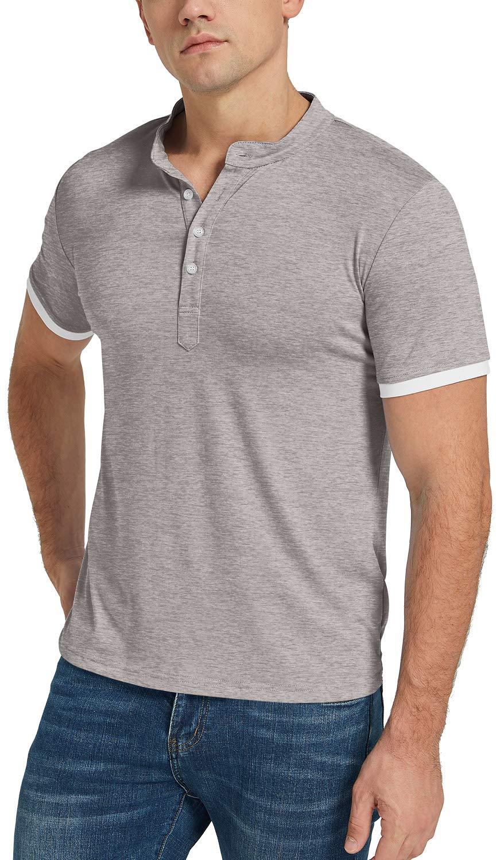 KUYIGO Mens Polo Shirt Short Sleeve Classic Sports Top Casual Workout Sports Shirts