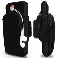 Venoro Sports Armband, Running Fitness Double Pockets Universal Smartphone Arm Bag with Earphone Hole for iPhone SE 11 Pro Galaxy Note 10 Plus 5G S10 S9 A10E A20 Galaxy S20 Plus S20 (Black)
