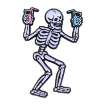 Real Sic Party Skeleton - Occult, Halloween, Spooky for You, Glow-in-The-Dark, Party 'Till You Die Pin