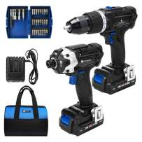 Hammer Drill and Impact Driver Combo Kit, PROSTORMER 20V Max Cordless Drill Driver/Impact Driver with 2Pcs 2.0Ah Lithium-Ion Batteries, Charger Kit, 29pcs Accessories and Tool Bag