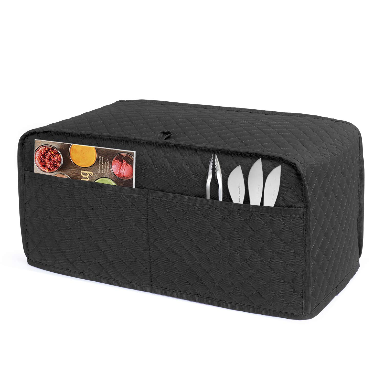 Luxja Toaster Cover for 4 Slice Long Slot Toaster (15.5 x 7.5 x 8 inches), Toaster Cover with 2 Pockets (Fits for Most 4 Slice Long Slot Toasters), Black (Quilted Fabric)