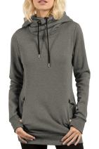 Pink Wind Women's Active Funnel Neck Hoodie Sweatshirts Pullover with Thumb Holes