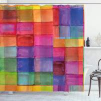 "Ambesonne Abstract Shower Curtain, Rainbow Colored Geometric Square Shaped with Blurry Hazy Effects Watercolor Design, Cloth Fabric Bathroom Decor Set with Hooks, 84"" Long Extra, Multicolor"