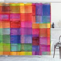 """Ambesonne Abstract Shower Curtain, Rainbow Colored Geometric Square Shaped with Blurry Hazy Effects Watercolor Design, Cloth Fabric Bathroom Decor Set with Hooks, 70"""" Long, Multicolor"""