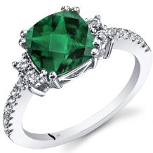 Peora Created Emerald Ring in 14K White Gold with Genuine White Topaz, Designer Cushion Cut, 2 Carats, Comfort Fit, Sizes 5 to 9