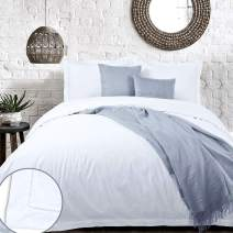 YINFUNG White Duvet Cover Cotton Hotel Queen Bright Crisp Farmhouse Washed Rustic Percale 90x90 Flange Border Modern Luxury 3 Pieces Bedding Set Plain All White Quilt Cover Hemstitch Solid