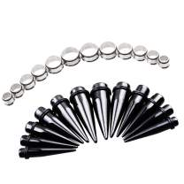 TOPBRIGHT 24PCS UV Acrylic Tapers and Surgical Steel Plugs Ear Gauges Kit Eyelets Stretching Set 00G-20mm
