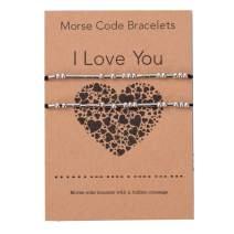 Morse Code Bracelet Jewelry for Men Women I Love You Couple Bracelets Gift for Friendship Bracelets Gift Stainless Steel Handmade Beads on Silk Cord Gift Set for 2