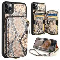 iPhone 11 Pro Wallet Case,ZVE iPhone 11 Pro Case with Credit Card Holder,iPhone 11 Pro Case with Zipper Wrist Strap Protective Purse Case for iPhone 11 Pro 5.8 inch - Primrose Yellow Snake Skin