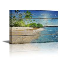 """wall26 - Canvas Prints Wall Art - Tropical Beach with Palm Tree on Vintage Wood Background Rustic Home Decoration - 16"""" x 24"""""""