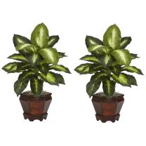 Nearly Natural 6712-GD-S2 Dieffenbachia with Wood Vase Decorative Silk Plant, Golden, Set of 2