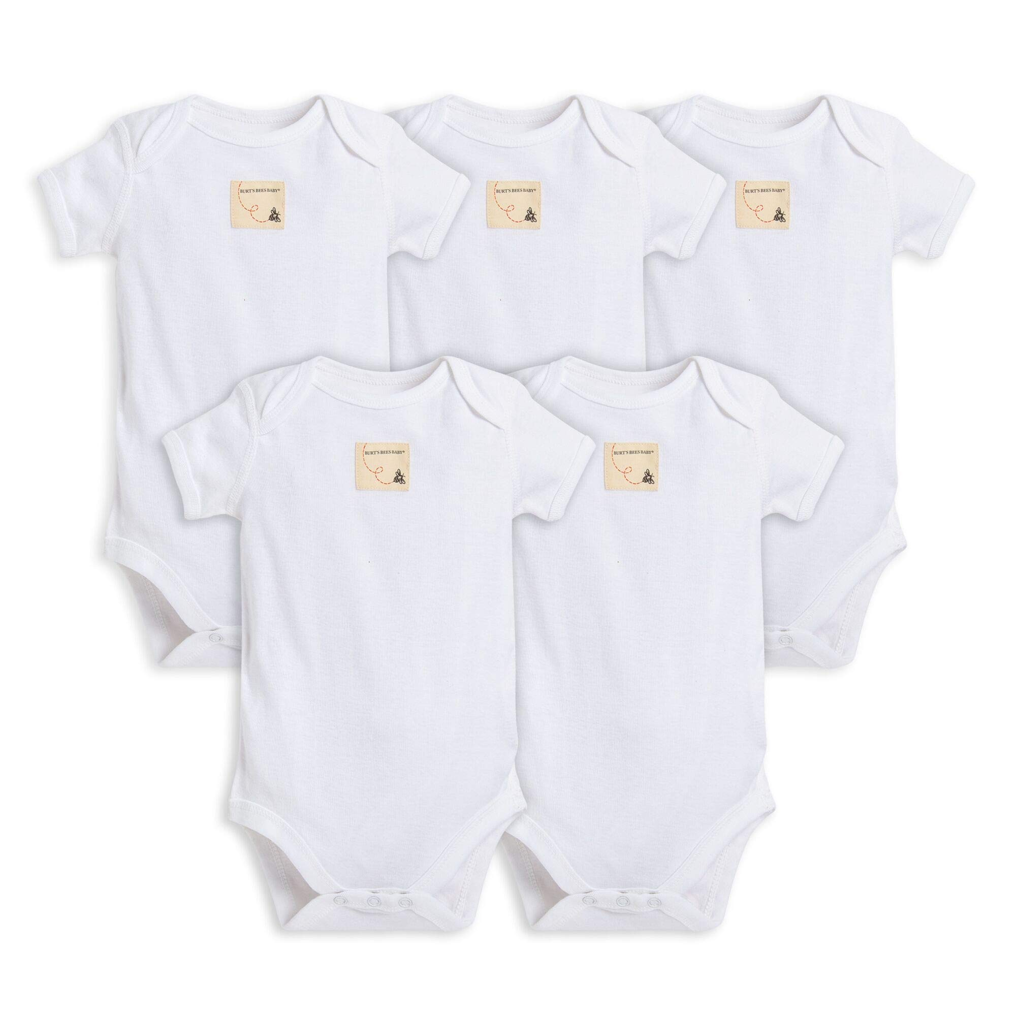 Burt's Bees Baby Unisex Baby Bodysuits, 5-Pack Short & Long Sleeve One-Pieces, 100% Organic Cotton